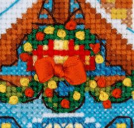 Borduurpakket Kruissteek   Huisje met kerstversiering en elanden (Riolis)