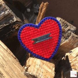 Borduurpakket Mini | Hartje Faith (rood en blauw)