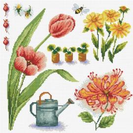 Borduurpakket Kruissteek | Lente tuin 1 - voorbedrukt stramien