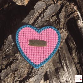 Borduurpakket Mini | Hartje Believe (roze en turkoois)