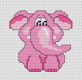 Borduurpakket Kruissteek | Roze olifant (Luca-S)