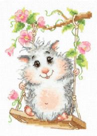 Borduurpakket Kruissteek | Hamster op de schommel (Chudo Igla)