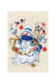 Borduurpakket Kruissteek | Sneeuwpop (Christmas Eve - RIOLIS)