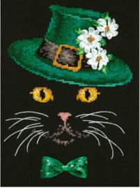 Borduurpakket Kruissteek | Zwarte kat met hoed (Black Cat - Green Hat - Chudo Igla - Magic Needle)