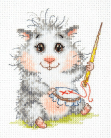 Borduurpakket Kruissteek | Hamster aan het borduren (Chudo Igla)