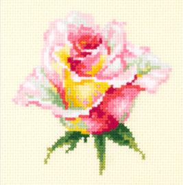 Borduurpakket Kruissteek | Geel/Roze roos (Blooming Rose - Chudo Igla)