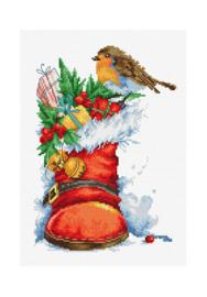 Borduurpakket Kruissteek   Laars van de kerstman (Christmas boot - Luca-S)