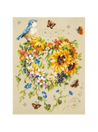 Borduurpakket Kruissteek | Hart van bloemen met vlinders en vogel