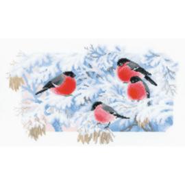 Borduurpakket Kruissteek | Vogeltjes in de sneeuw (RIOLIS)
