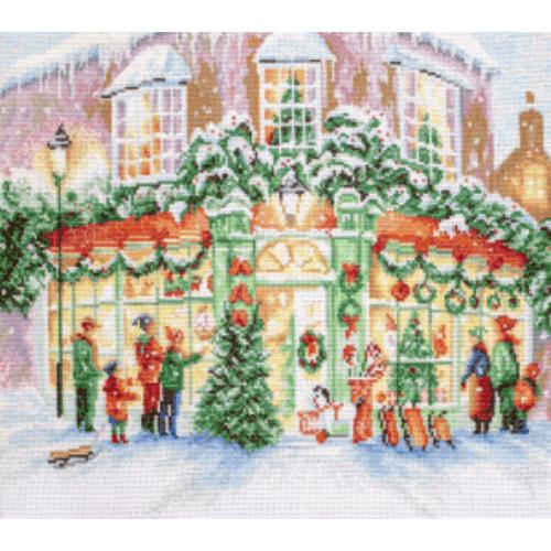Borduurpakket Kruissteek   Kerst shoppen (Christmas Shop - LetiStitch)