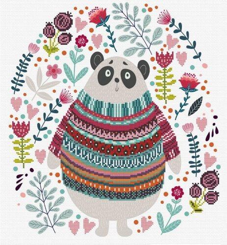 Borduurpakket Kruissteek | Panda - voorbedrukt stramien