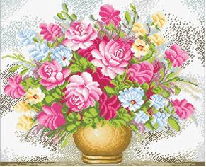 Borduurpakket Kruissteek   Vaas met roze bloemen - voorbedrukt stramien (Needleart World)