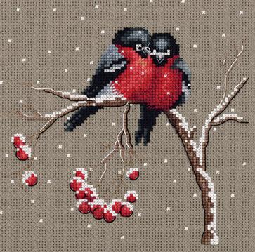 Borduurpakket Kruissteek | Vogeltjes in de sneeuw (Winter Warmth - Panna)