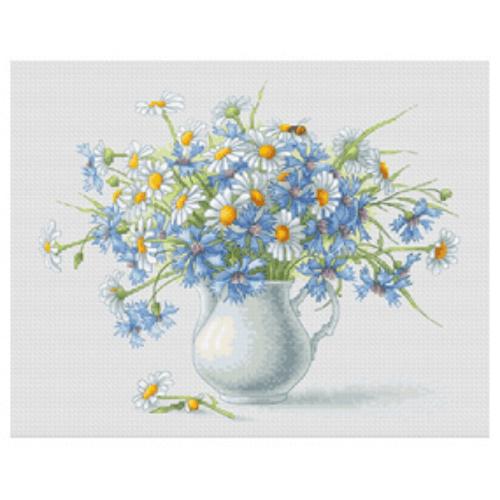 Borduurpakket Kruissteek | Korenbloem en Kamille (Cornflowers and Camomiles - Luca-S)
