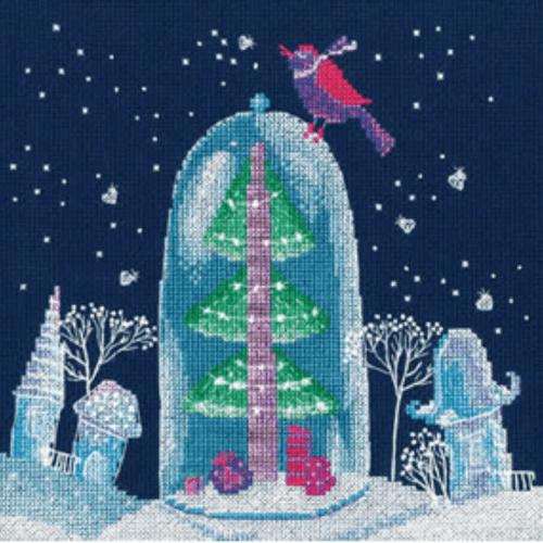 Borduurpakket Kruissteek | Winter sprookje - Kerstboom in de sneeuw (RTO)