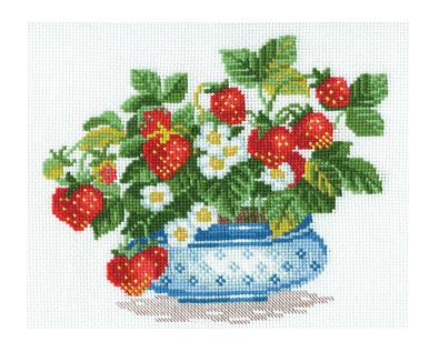Borduurpakket Kruissteek | Aardbeien (Strawberries - RIOLIS)