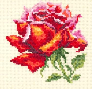 Borduurpakket Kruissteek | Rode roos (Red Rose - Chudo Igla)