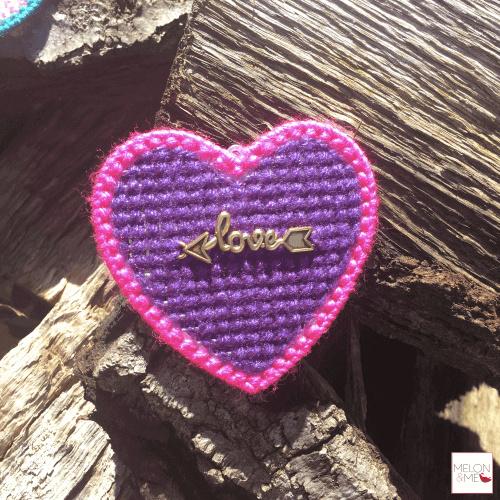 Borduurpakket Mini | Hartje Love (paars en fluorroze)
