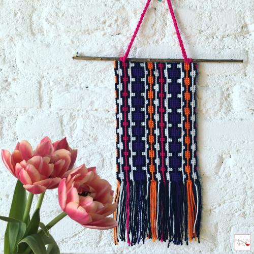 Borduurpakket Wandhanger   Pink, Purple, Orange