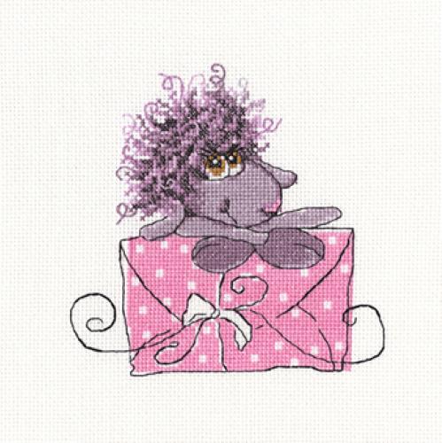 Borduurpakket Kruissteek | Schaap met cadeautje (The Best Present - RTO)