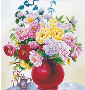 Borduurpakket Kruissteek | Rode vaas met bloemen - voorbedrukt stramien