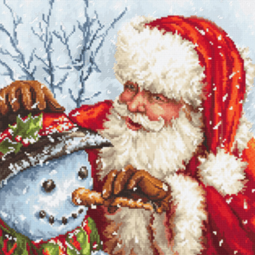 Borduurpakket Kruissteek | Kerstman en sneeuwpop (LetiStitch)