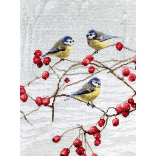 Borduurpakket Kruissteek   Vogeltjes in de sneeuw (Pimpelmeesjes - LetiStitch)