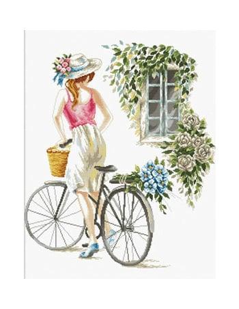 Borduurpakket Kruissteek | Meisje op fiets - voorbedrukt stramien (Needleart World)