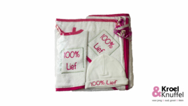 """Geboortepakket """"100% Lief (roze)"""""""