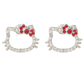Hello Kitty earrings with rhinestones red