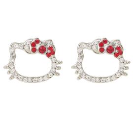 Hello Kitty oorbellen met steentjes rood