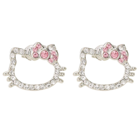 Hello Kitty earrings with rhinestones pink