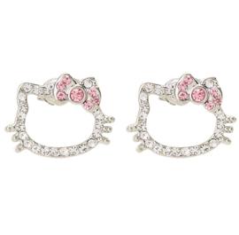Hello Kitty oorbellen met steentjes roze