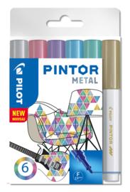 """PILOT Pintor Pigmentmarkers 2.9 mm/fijn set van 6 """"Metal Mix"""""""