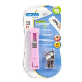 Rapesco Supaclip 40 Papierklem Dispenser, Roze