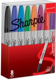 Sharpie Permanente Markers  Fijn, Set van 8 Verschillende Kleuren in een Etui