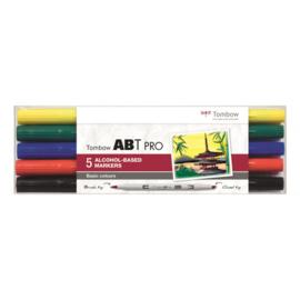 Tombow ABT Pro setBasic Colors 5 stuks.  Markers gebaseerd op Alcoholbasis