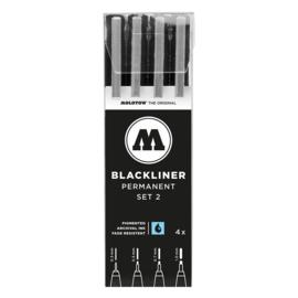 MOLOTOW™  Fineliner Blackliner Set # 2 met  4 stuks/pack Zwart 0.3 mm, 0.5 mm, 0.7 mm, 1 mm