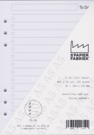 Aanvulling A5  voor o.a. Succes, Filofax en Kalpa Agenda's /Planners 50 vel = 100 pagina's, To Do Lijst A5 Formaat Wit 120 g/m² Papier