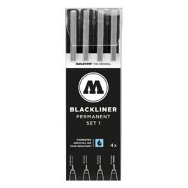 MOLOTOW™  Fineliner Blackliner Set # 1 met  4 stuks/pack Zwart  0.05 mm, 0.1 mm, 0.2 mm, 0.4 mm
