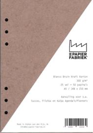 Aanvulling A5  voor o.a. Succes, Filofax en Kalpa Agenda's /Planners 25 vel = 50 pagina's A5 Formaat Kraft Bruin 300 g/m² 6 gaats Karton.