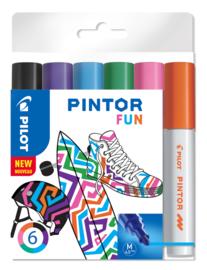 """PILOT Pintor Pigmentmarkers 4.5 mm/medium  set van 6 """"Fun Mix"""""""