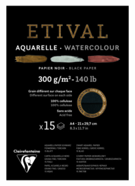 Clairefontaine Etival Blok A4 Zwart Aquarel Papier 15 Vel / 300gram