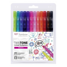 Tombow TwinTone Marker Set - Bright Colours - Set van 12