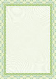 Diploma / Certificaat Papier Groene Slinger ,   25 Vel Formaat A4  = 210 x 297 mm 115g/m²