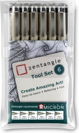 Zentangle Tool Set - Sakura Pigma Micron Fineliners - 6-Delig