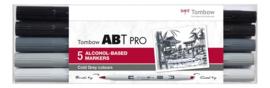 Tombow ABT Pro setCold Grey  Colors 5 stuks.  Markers gebaseerd op Alcoholbasis