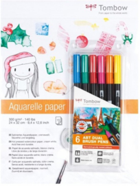 Tombow ABT Dual Brush - Aquarelle Bundle Set + één A5 Formaat Zipperbag Etui