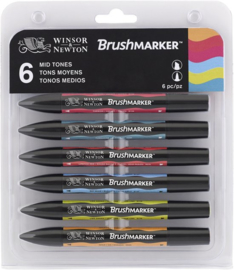 Winsor & Newton Brushmarker Set 6 Medium Kleuren