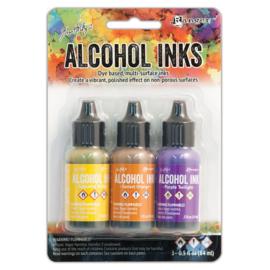 Tim Holtz Alcohol 14ml  ink x 3 Summit View, Geel. Oranje en Violet